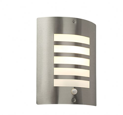 Brushed stainless steel & opal Polycarbonate PIR Sensor Light BXST031FPIR-17  (Double Insulated)